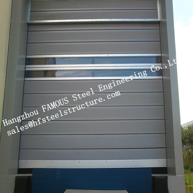 High Speed Galvanized Industrial Lift Up Metal Roller Shutter Door With Pedestrian Gate