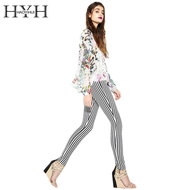 HYH HAOYIHUI Women Pant Black White Stripe Zipper Asymmetrical Slim Pencil Pant Basic Casual Streetwear Female Pants