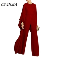 OMILKA 2018 Hot Summer Women Cuff Long Mesh Wide Leg Rompers and Jumpsuit Sexy Red Blue Black White Club Party Combinaison Femme
