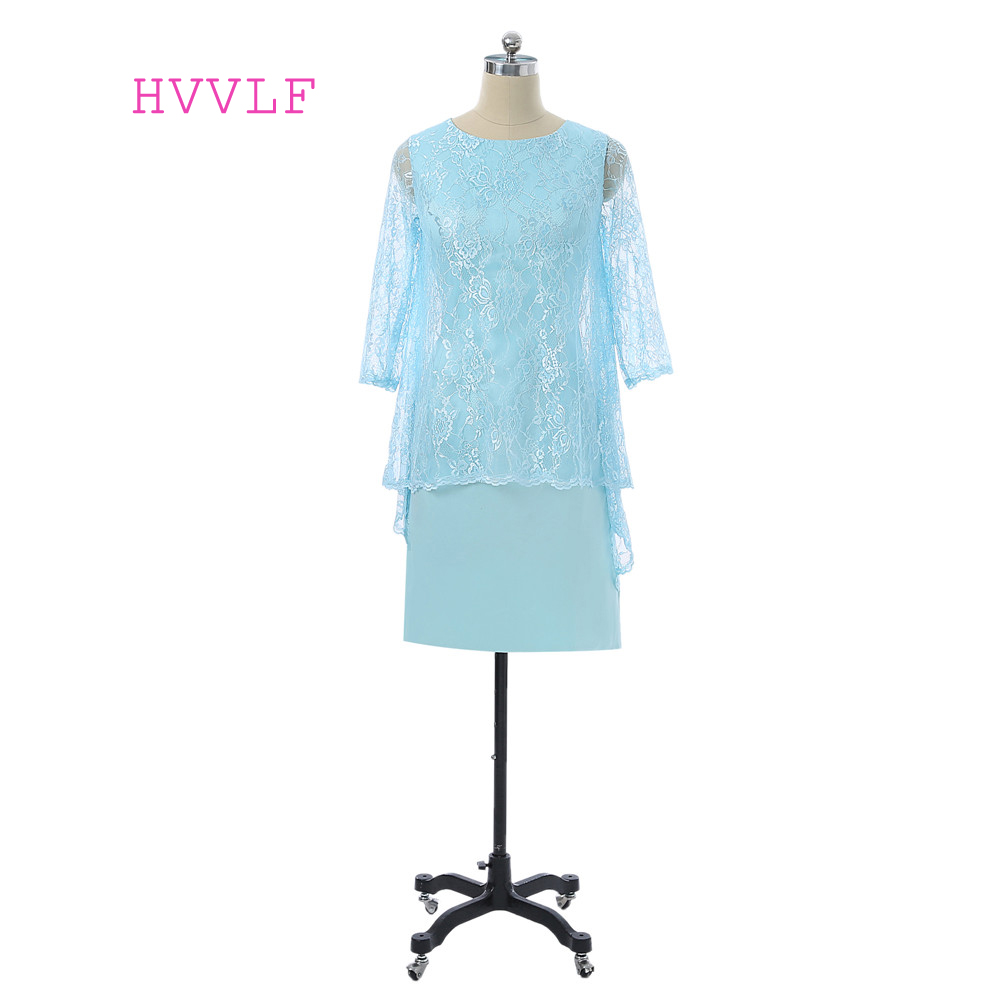 Turquoise 2019 Mother Of The Bride Dresses Sheath Knee Length Lace With Jacket Plus Size Groom Mother Dresses For Wedding