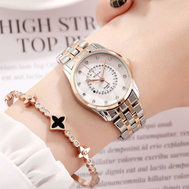 New Women's Watch Luxury Brand Rotating Calendar Quartz Wristwatches Women's Rhinestone Starry Rose Steel Watch relogio femenino