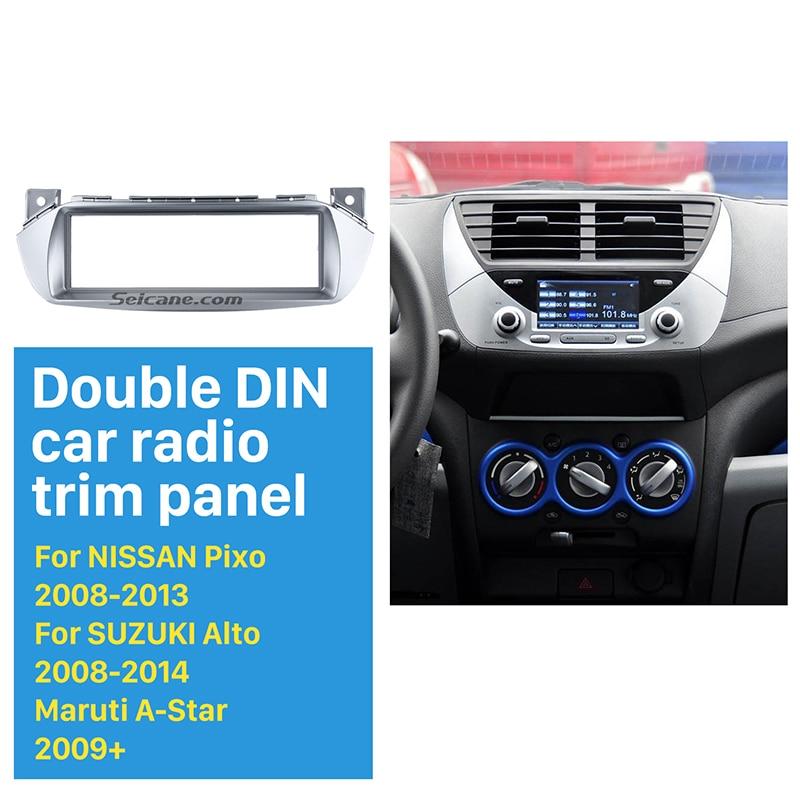 Seicane Silver 1Din Car Radio Fascia for 2008-2014 Suzuki Alto Nissan Pixo Maruti A-Star Dash CD Player Audio Fitting Adaptor