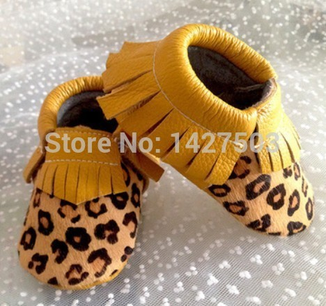 100pairs  New leopard Horse hair Genuine Leather Toddler baby moccasins tassel baby shoes First Walkers Anti-slip Infant Shoes