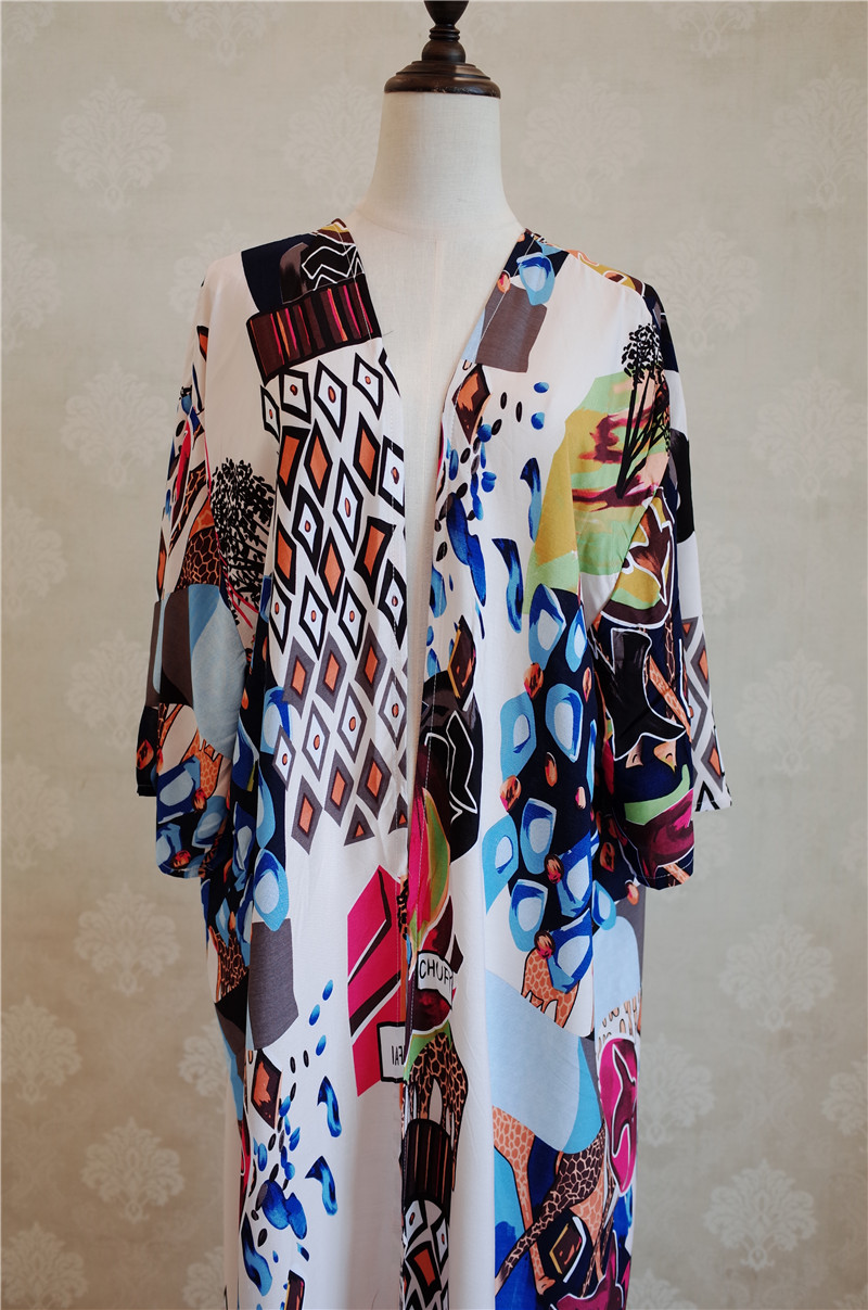 HTB1l2h4aEuF3KVjSZK9q6zVtXXa8 - Bohemian Printed Half Sleeve Summer Beach Wear Long Kimono Cardigan Cotton Tunic Women Tops Blouse Shirt Sarong plage N796