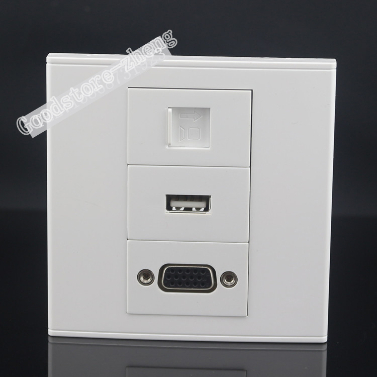 Wall Socket Plate 3 PortS One USB & One VGA & One RJ45 Cat5e Network LAN Panel Faceplate Outlet Wholesale Lots