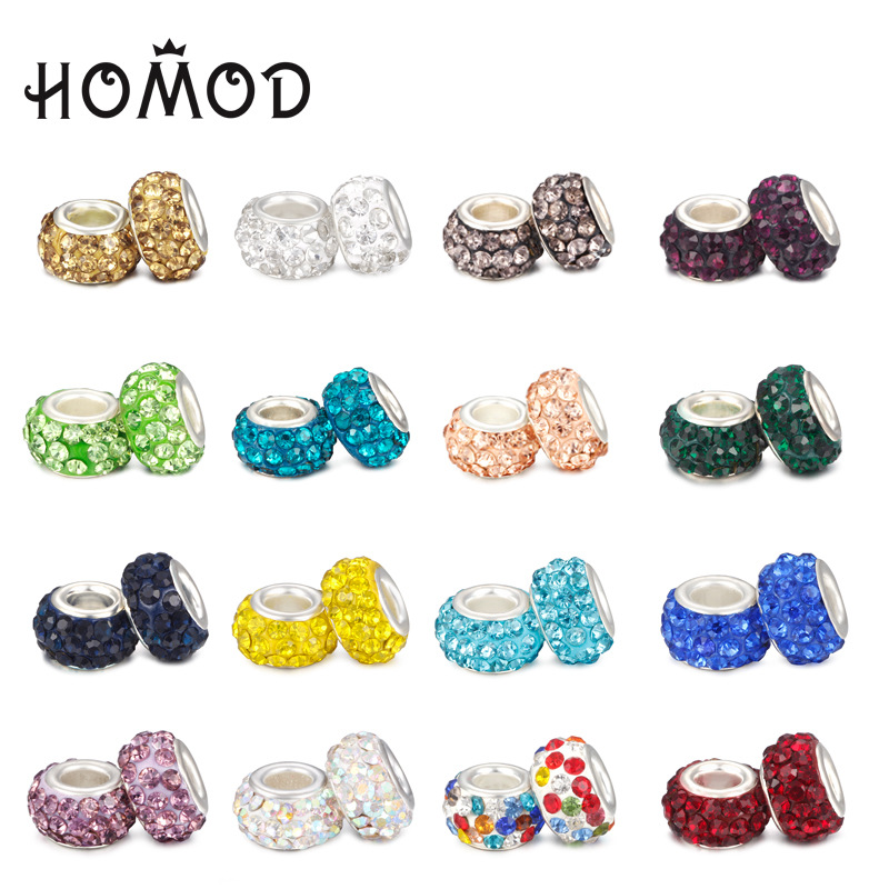 HOMOD Fashion 19 Colors DIY Resin Rhinestones Beads Fits PandoraFits Brand Charms Bracelets Necklaces European jewelry making in Charms from Jewelry Accessories