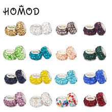 HOMOD Fashion 19 Colors DIY Resin Rhinestones Beads Fits PandoraFits Brand Charms Bracelets Necklaces European jewelry making(China)