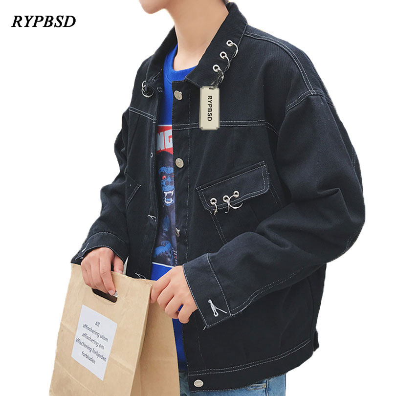 2017 Autumn New Fashion Trend Metal Lron Ring Design Mens Denim Jacket Coat Korean Loose Street Black Vintage Men Jeans Jacket