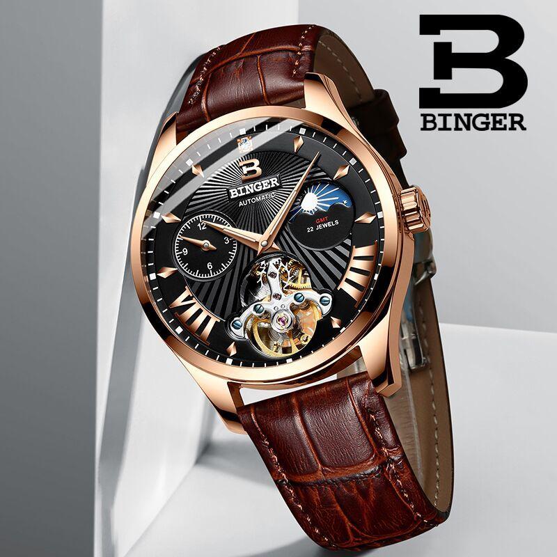 Szwajcaria oglądać mężczyźni Binger automatyczne mechaniczne zegarki męskie luksusowa marka Sapphire GMT mężczyźni zegarek na rękę wodoodporny B 1186 11 w Zegarki mechaniczne od Zegarki na  Grupa 1