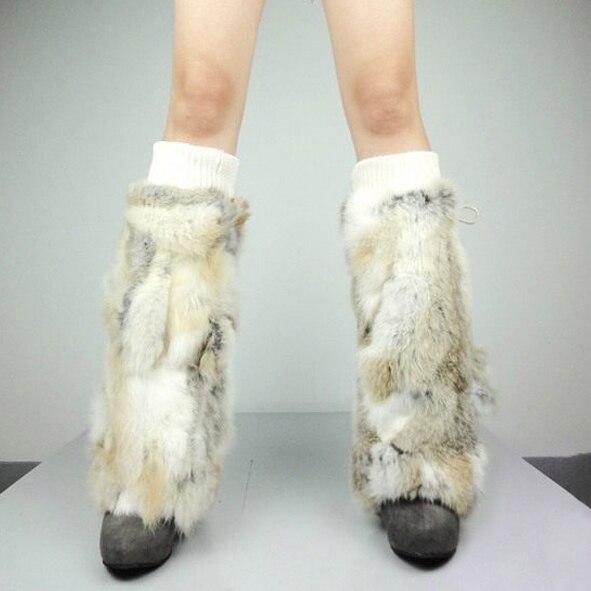 Fur Story 080101 leg warmer real rabbit fur Women s foot warmer winter accessories Christmas gift