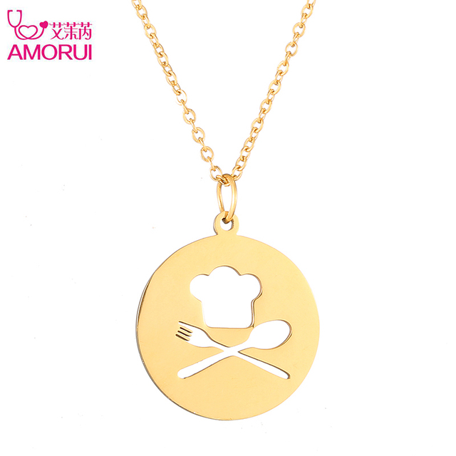 AMORUI Trendy Chef Hat Choker Chain Statement Necklace Jewelry Fork Spoon Gold Silver Color