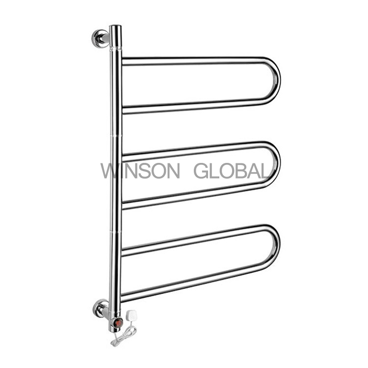 Electric Towel Rails Round Tube Rotating 304 Stainless Steel Rails Bath Heating Holder Towel Bars Drying Towel Rack ICD60052 hotel decoration 304 stainless steel electric heating towel racks house furniture fitment appliance heating towel rack icd60048
