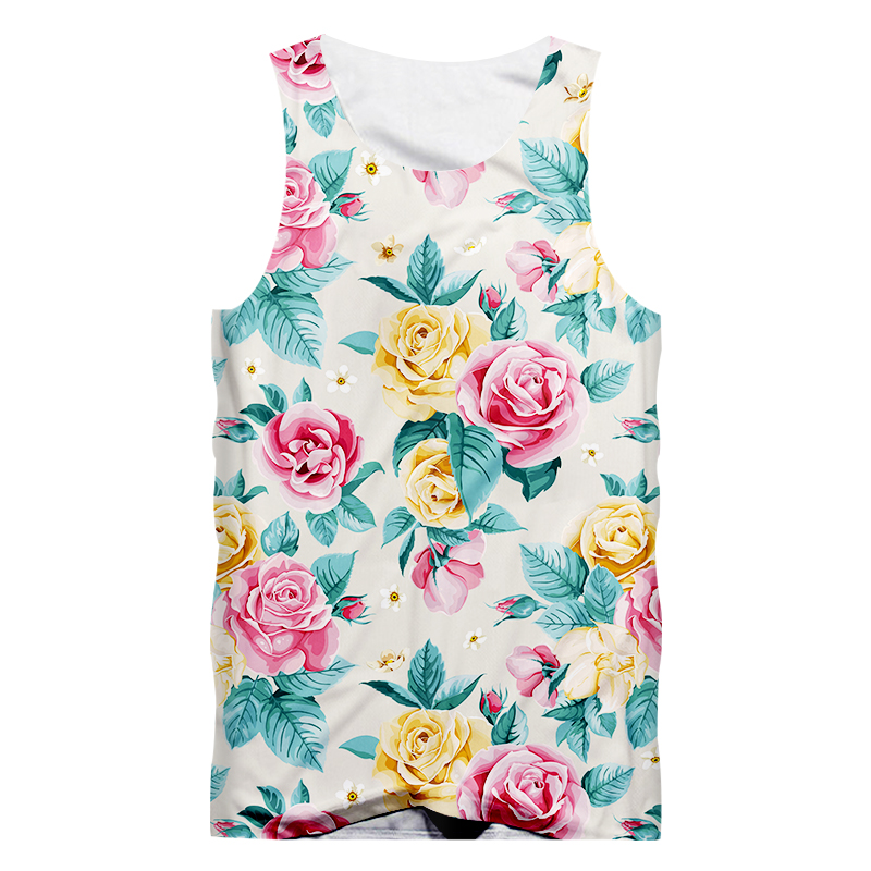 Flower Pineapple Summer Fruit Men Vest Hipster Singlet Street Sleeveless Tank PP96