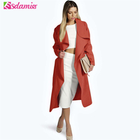New New Autumn Fashion Turn Down Collar Trench Coat Elegant Slim Belt Wool Trench Coat For Women Long Sleeve Female Trench Long
