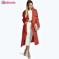 Nieuwe 2017 Herfst Mode Kraagvorm Trenchcoat Elegante Slanke riem Wol Trenchcoat Voor Vrouwen Lange Mouw Vrouwelijke Geul Lange