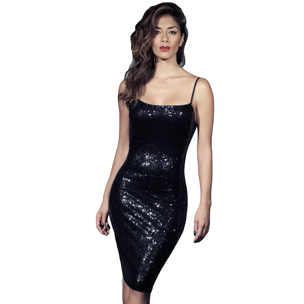 7a431f7008 Sexy Black Sequin Dress Women Bodycon Spaghetti Strap Dress with Sequin  Backless Night Club Party Sparkling