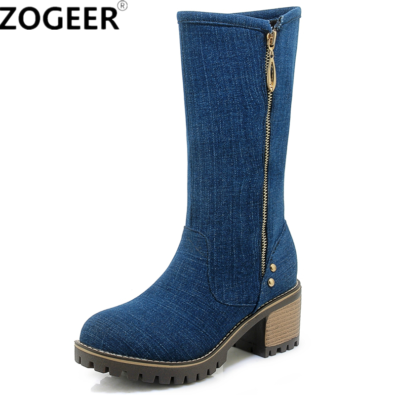 New Women Mid-calf Boots Fashion Sexy Denim Cloth Round Toe Med Heel Motorcycle Boots Blue Black Jeans Ladies Shoes chicd hot sale skinny jeans woman autumn new pencil jeans women fashion slim blue jeans mid waist denim pants plus size xp135