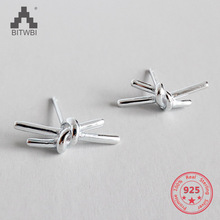2019 New 925 Sterling Silver Knotted Earrings Classic Twisted Small Stud Earrings Cute Minimalist Jewelry innopes classic geometry star earrings crystal stud earring silver earrings minimalist girls earrings