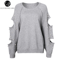 Lily Rosie Girl Casual Cut Out Oversized Pearls Knitted Sweater Hollow Out Long Sleeve Loose Women