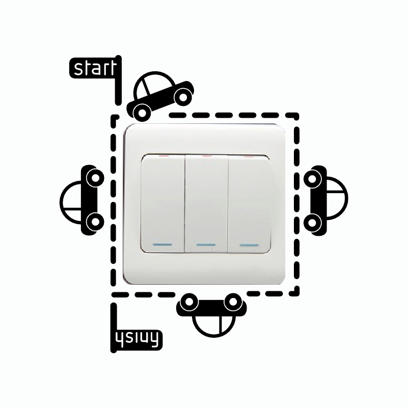 KG-280 Toy Cars Light Switch Sticker Cartoon Cars Vinyl Wall Sticker for Kids Room Bedroom Home Wallpaper
