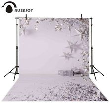 Allenjoy photography backdrop Christmas white stars gift glitter decoration winter background for photo sessions photocall props