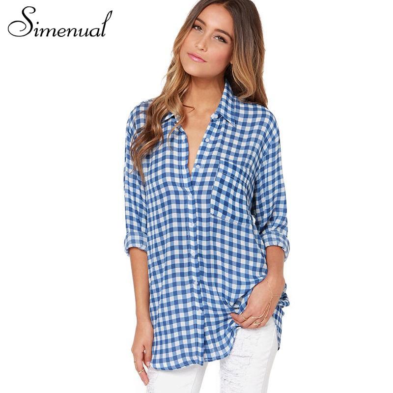 Boyfriend style plaid shirt ladieswear long big size women blouses and shirts 2016 spring sexy blue white checkered blouse sale