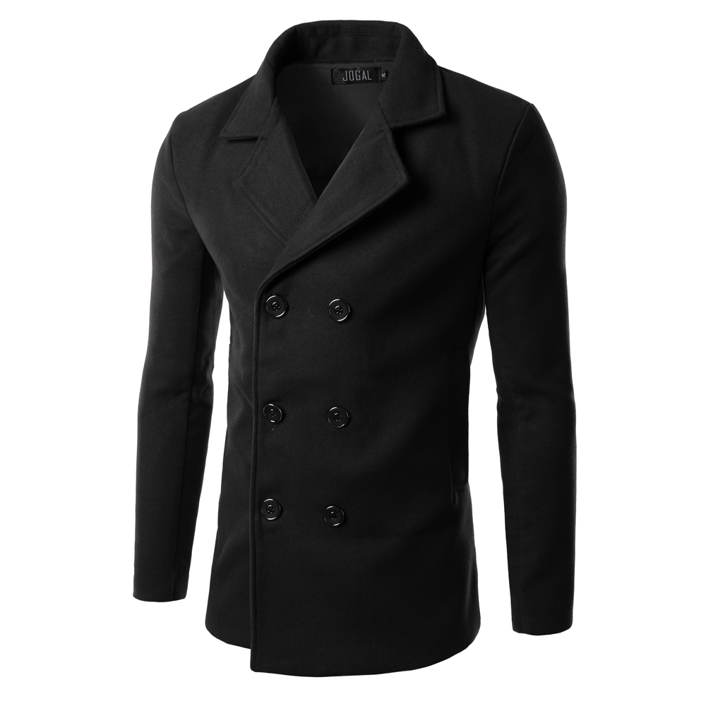 Online Shop New Pea Coat men Winter Fashion Mens Slim Double ...