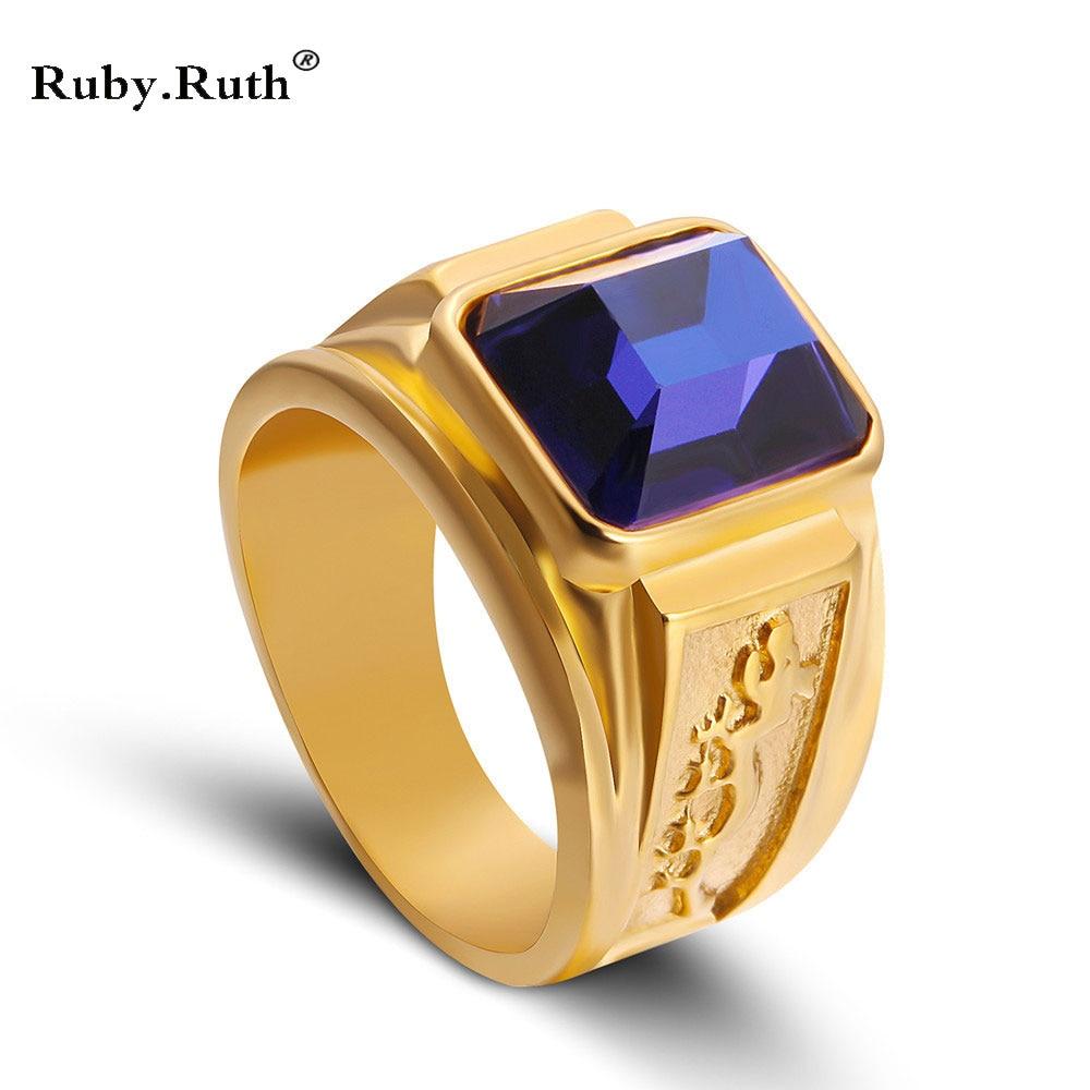 Ring Heißer Männer Unisex Neue Design Gold-farbe Siam blau Farbe ...