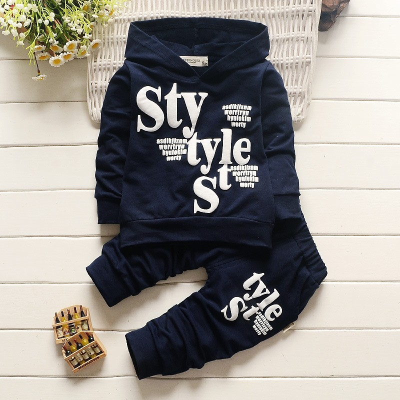 Children's 2017 new boy 100% cotton suit STYLE letter printed long-sleeved hat sweater + trousers  2 3 4 years old [free shipping] 2015 new arrival fashion female 1 4 years child love baby cashmere long sleeved jacket trousers leisure suit