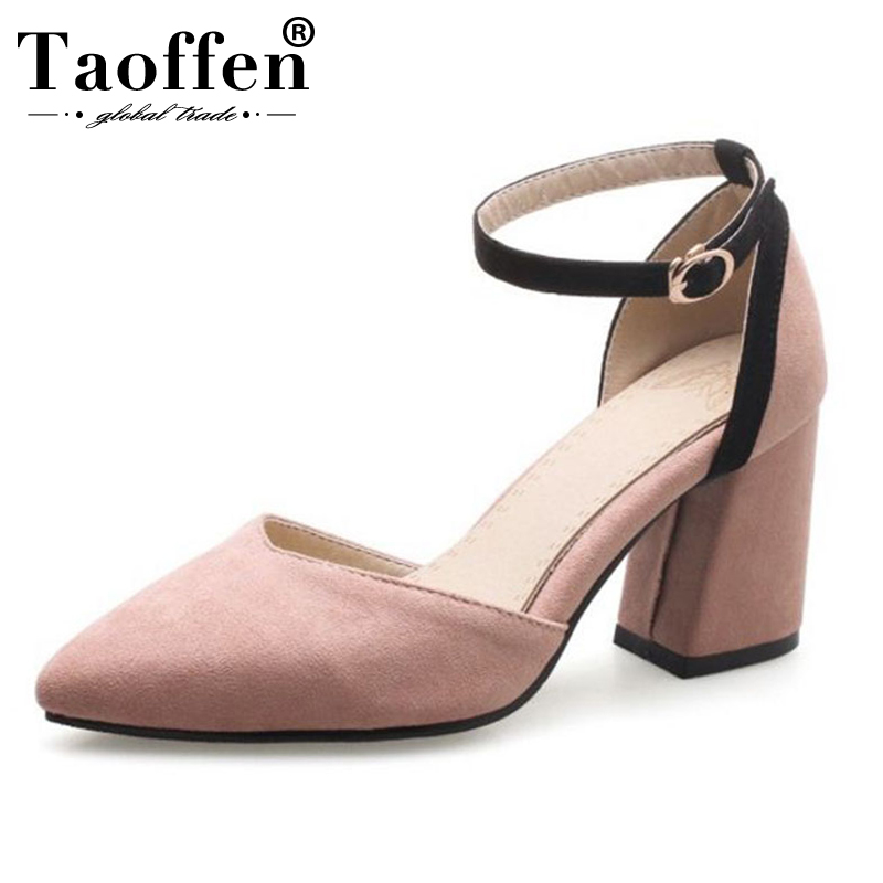 TAOFFEN Sweet 2019 Dancing Party Spring Shoes Youngs Mixed Colors High Heel Shoes Women Buckle Dating Wedding Sandals Size 32-46