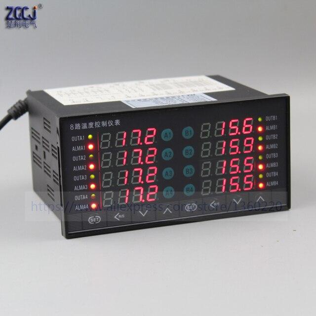דיגיטלי תרמוסטט 8 דרכים SSR פלט טמפרטורת בקר עם 8 דרכים DC מתח פלט התראה עם RS485 תקשורת