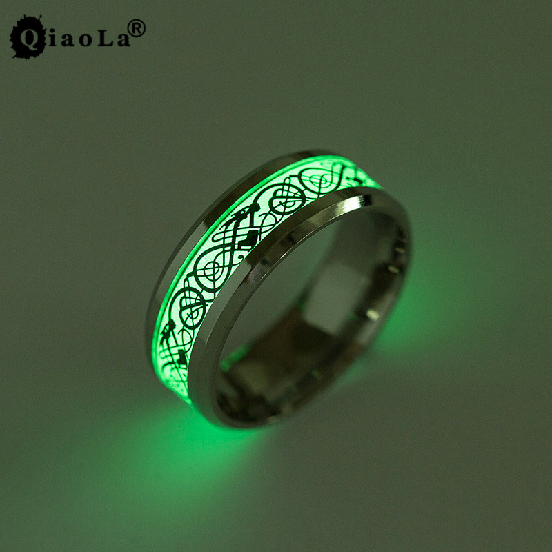6 Style Luminous Stainless Steel Mens Rings Titanium Glow in the Dark Black/Silver Dargon Ring Fluorescent 2017 New Arrivals