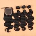 7А Бразильский Объемная Волна С Закрытием Бразильские Волосы С Закрытием волосы Связки С Кружевом Закрытие 3 Связки Человеческих Волос С закрытие