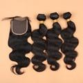 7A Onda Del Cuerpo Brasileño Con Cierre Pelo Brasileño Con Cierre Paquetes de pelo Con Cierre de Cordones 3 Manojos de Cabello Humano Con cierre