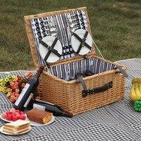 Корзины для пикника на открытом воздухе ручной работы, семейная винтажная плетеная корзина для пикника, набор для 4 человек, подарок друзьям
