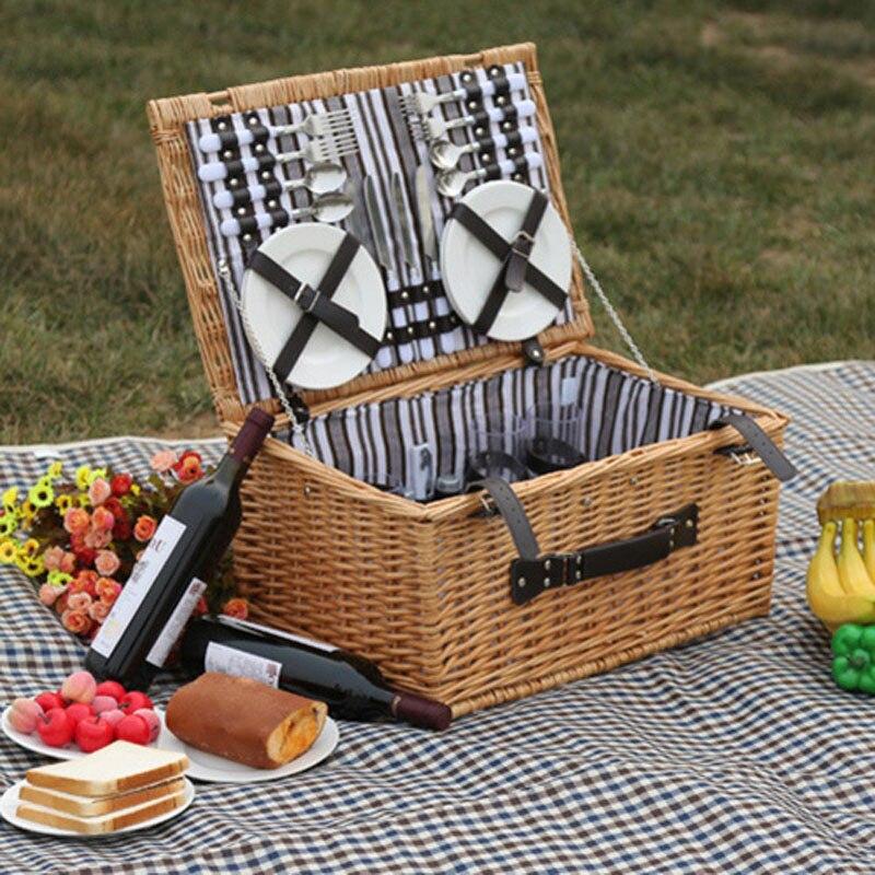 Saule extérieur pique-nique paniers de rangement à la main famille Vintage en osier pique-nique panier ensemble pour 4 personnes amis cadeau pique-nique