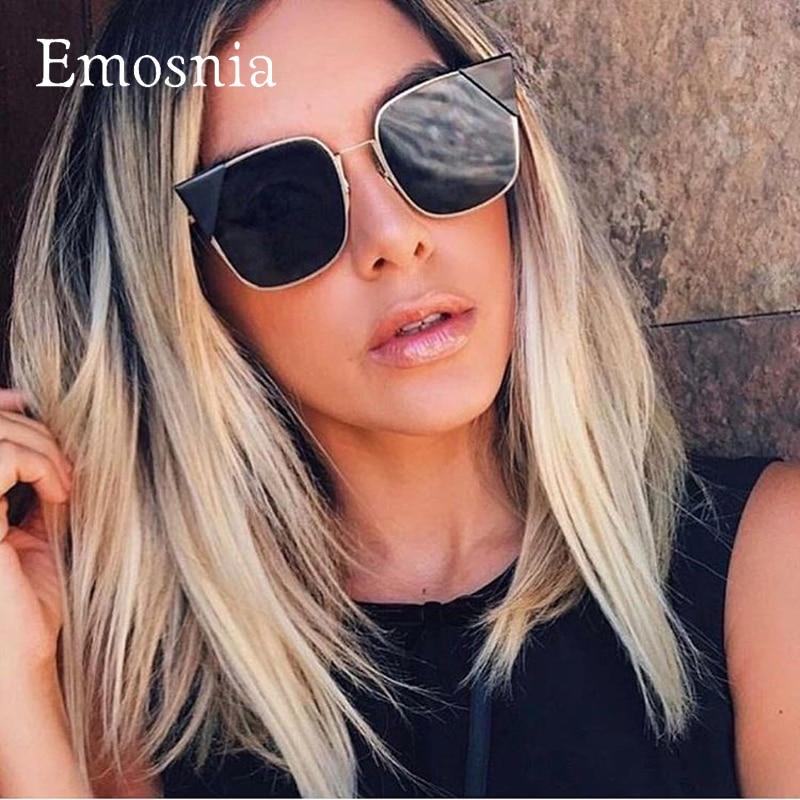 Emosnia New Classic Sunglasses Women Top Brand Designer Cateye Shades Big Sunglasses Square Vintage Cat Eye Sunglasses Oculos