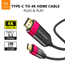Mcdodo USB C HDMI 4K HD Audio 2M Cable Type to Thunderbolt3 for MacBook Samsung Huawei Mate 20 P20 Pro USB-C Adapter