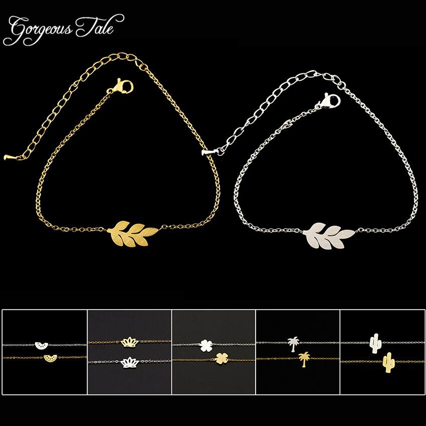 3847ff38f00e3 US $1.33 30% OFF|GORGEOUS TALE Best Friends Gold Dainty Charm Bracelet  Femme Stainless Steel Hand Chain Charm Waterlmeon Bracelet for Women-in  Chain & ...