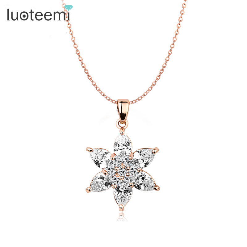 LUOTEEMI Fashion Rose Gold-Color Clear Zircon Stars Crystal Pendant for Women Chain Elegant Necklae Jewelry Gift Factory Sale
