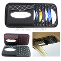 Nova Multifuncional Car Interior Sun Viseira Caixa de Tecido de Couro Guardanapo Capa DVD Case Pasta CD