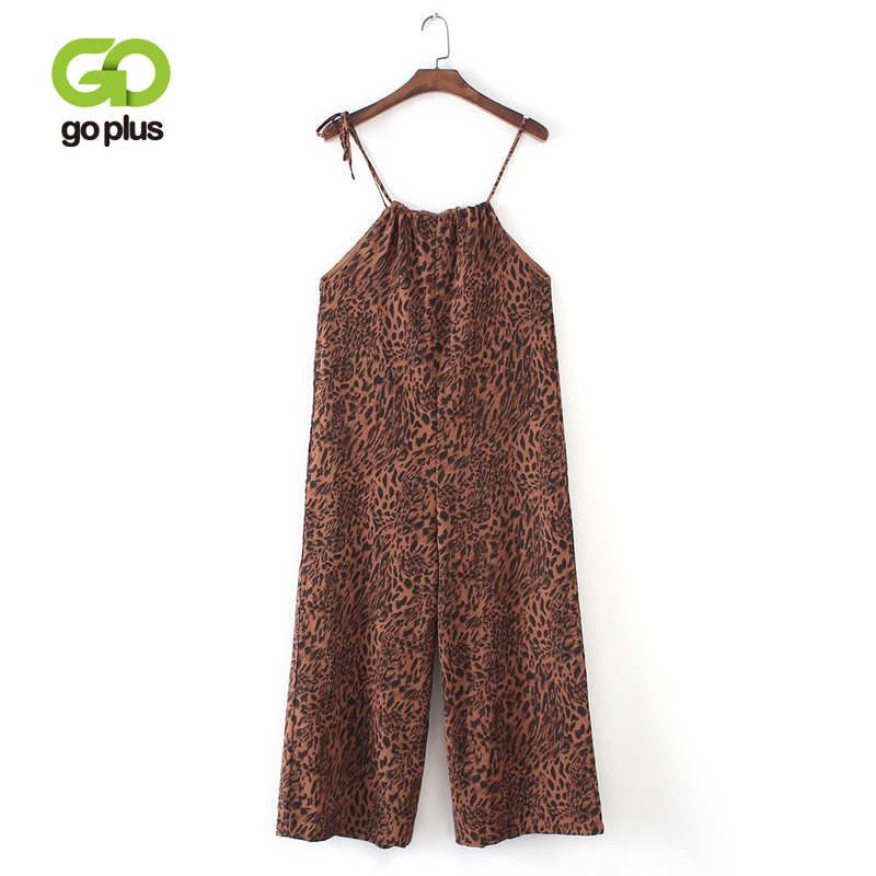 GOPLUS Lace Up Strap Straight Loose Overalls Leopard   Pants   Streetwear Korean Romper Jumpsuit Harajuku Trousers   Wide     Leg     Pants