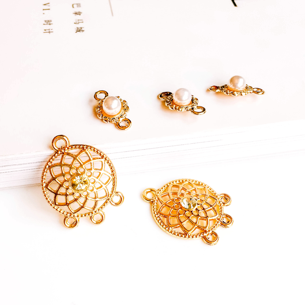 Gold Plated Pendant Accessories Metal Earring Components Necklace Charms Diy Material Supplies for Jewelry Finding 8pcs
