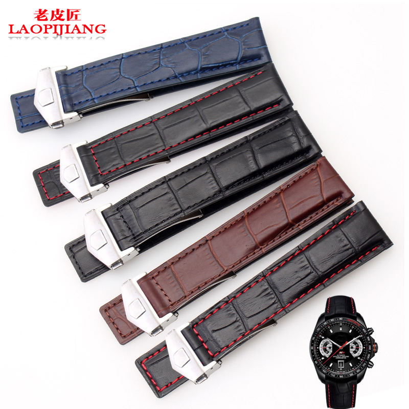 Laopijiang  Quality Natural Leather Strap 19mm 20mm 22mm Black Brown Blue Special Buckle Watchband Men Watch Band Strap