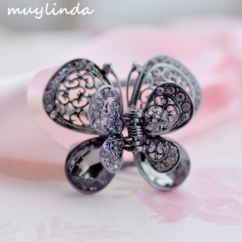Vintage Rhinestone Butterfly Hair Claw Crab Crystal Embellished Medium Hair  Clip Open Sides Hair Accessories For Women-in Hair Jewelry from Jewelry ... 6d6034089aee