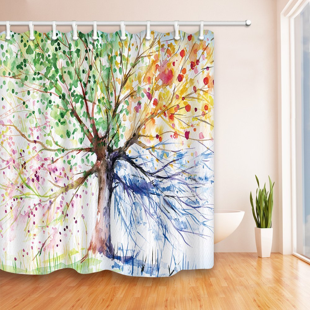 Creative Trees Decoration Bath Curtain Colorful