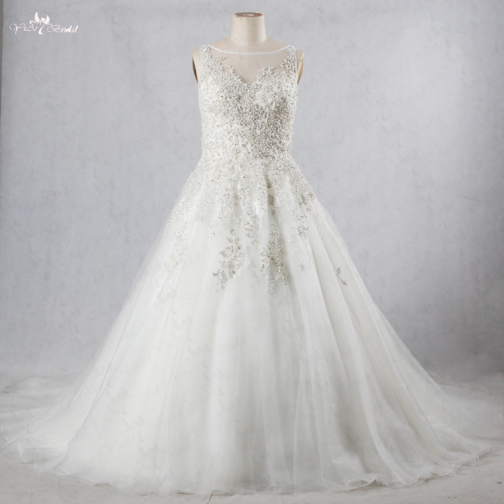 US $288.0 |RSW1069 Heavy Beaded Silver Lace Appliques Boat Neckline  Sleeveless Plus Size Wedding Dress Princess Wedding Gowns-in Wedding  Dresses from ...