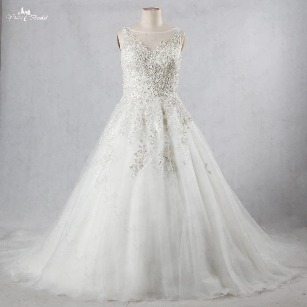 US $19.19 RSW11969 Schweres Wulstiges Silber Spitze Appliques Boot  Ausschnitt Sleeveless Plus Size Hochzeitskleid Prinzessin  Brautkleiderdressedress