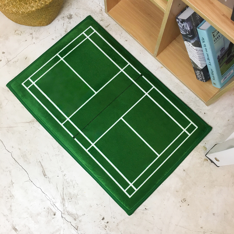 40x60cm/50x80/60x90cm Badminton Court/tennis Court Floor Mat Rug Velvet Green Sports Doormat Bedroom Bathroom Toilet Carpet Pad