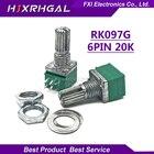 10pcs RK097G 20K single linked potentiometer B20K with a switch audio 6pin shaft 15mm amplifier sealing potentiometer